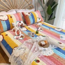 朵朵新2021牛奶绒乳胶保暖垫子三件套法莱绒床褥子床盖 彩虹