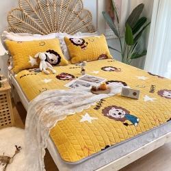 朵朵2021牛奶绒乳胶保暖床垫子三件套法莱绒床褥子床盖小狮子