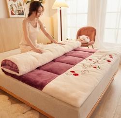 许先生 2021新款加厚羊羔绒软床垫 樱桃方块