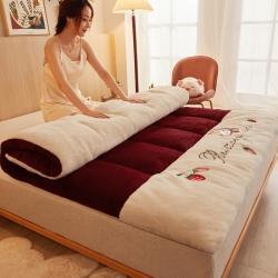 许先生 2021新款加厚羊羔绒软床垫 酒红草莓