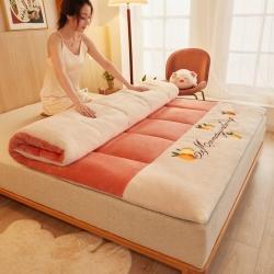 许先生 2021新款加厚羊羔绒软床垫 橘色方块