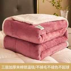 (总)颜诺2021三层加厚夹棉锁温毯羊羔绒金貂绒贝贝绒毛毯