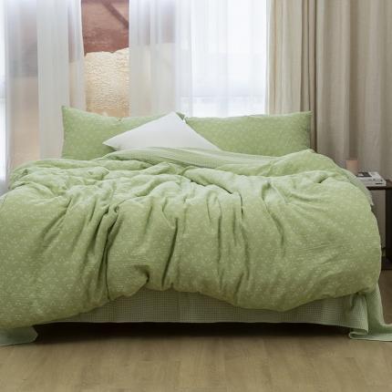 子和家居2021新款全棉双层纱水洗四件套落蔓系列 茶绿