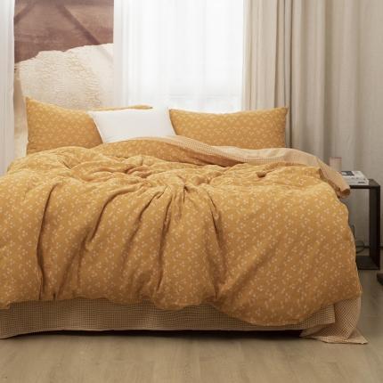 子和家居2021新款全棉双层纱水洗四件套落蔓系列 橙黄