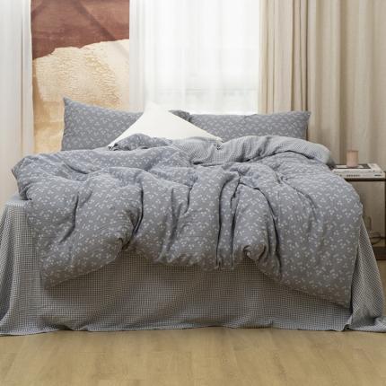 子和家居2021新款全棉双层纱水洗四件套落蔓系列 极地灰