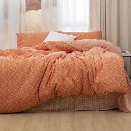 子和家居2021新款全棉双层纱水洗四件套落蔓系列 甜橘