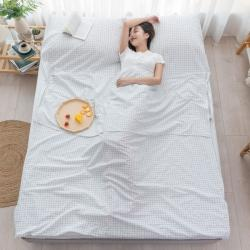 乐童家纺 2021新款全棉色织水洗棉隔脏睡袋 小白格