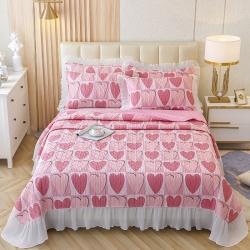 (总)岚吉家纺2021款全棉床盖蕾丝床裙款三件套