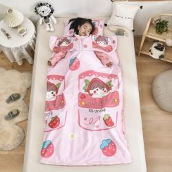 (总)吉咪兔 2021新款大豆纤维卡通儿童睡袋防踢被-袖子款