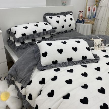 吾欢心 2021新款韩版牛奶绒四件套 甜蜜之恋