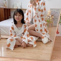 吖噢 2021新款亲子系列家居服浴袍睡衣 咖熊