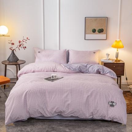 卡斯诺家纺馆 2021新款水洗棉贴布绣四件套 迷你格-紫