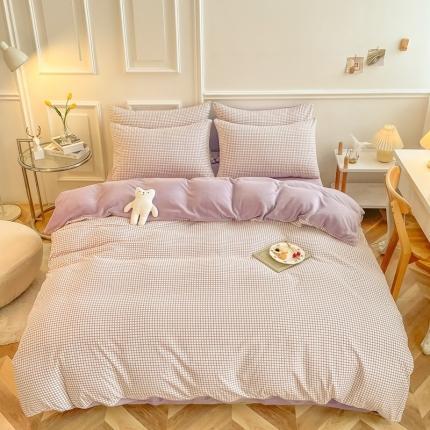 卡斯诺 2021新款水洗棉拼牛奶绒保暖四件套 暖绒-紫格