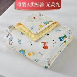新款精梳棉夹棉被套毯四季被春秋被冬被幼儿园被子被芯恐龙乐园黄