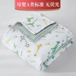 新款双层纱夹棉被套毯四季被春秋被冬被幼儿园被子被芯萌卡小鹿绿