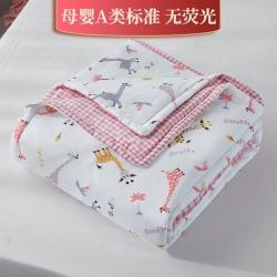 新款双层纱夹棉被套毯四季被春秋被冬被幼儿园被子被芯萌卡小鹿粉