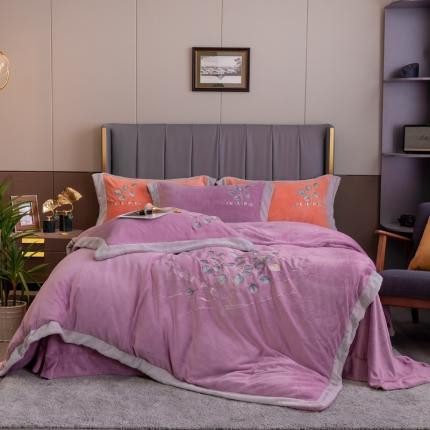 鑫帝2021新款高档高克重牛奶绒刺绣四件套-叶影迷情 水晶紫