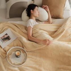 寐眠2021新款法莱绒毛毯牛奶水晶宝宝珊瑚金貂绒奶茶