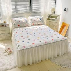 ins风高克重牛奶绒夹棉加棉绗缝雪纺床裙床盖软垫三件套公主风