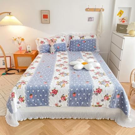 吾欢心 2021新款仙女款牛奶绒保暖床盖三件套 花花草莓紫