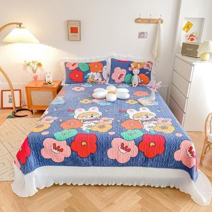 吾欢心 2021新款仙女款牛奶绒保暖床盖三件套 小萝莉