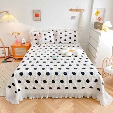 吾欢心 2021新款仙女款牛奶绒保暖床盖三件套 最爱波点