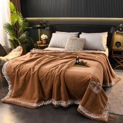丹兰 仿貂毛皮草盖毯双层拉舍尔毛毯大红婚庆毯子绣花法兰绒毯 皇冠-米驼