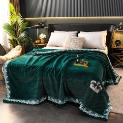 丹兰 仿貂毛皮草盖毯双层拉舍尔毛毯大红婚庆毯子绣花法兰绒毯 皇冠-抹绿