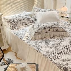 总眠屿家纺新款ins仙仙的牛奶般丝滑韩版牛奶绒床裙床盖三件套