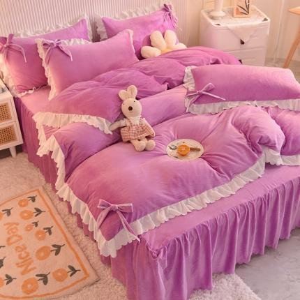 九诺2021直播爆款加厚宝宝绒牛奶绒床裙四件套幸福时光浪漫紫