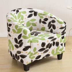 弹力单人印花卡座沙发套 咖啡厅全包沙发罩 防尘半圆圈椅套