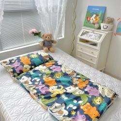 妙芙家居 2021新款全棉豆豆绒儿童睡袋 可爱动物园蓝