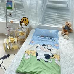 妙芙家居 2021新款全棉大版豆豆绒儿童睡袋 可爱奶牛