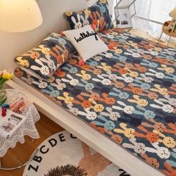 (总)瑞贝特 印花加厚抗菌防螨230克牛奶绒乳胶床垫床笠床单
