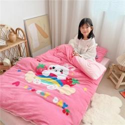 哈喽 2021新数码印花牛奶绒幼儿园儿童被套三件套 兔子乐园