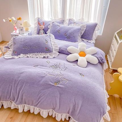 吾欢心2021新款加厚泰迪绒刺绣韩版小萝莉系列四件套 奶油紫