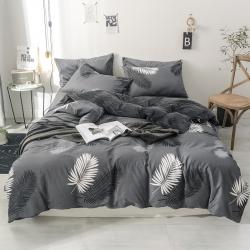 莱登卡奴2018新款棉加绒水晶绒法莱绒四件套床单款叶叶相望