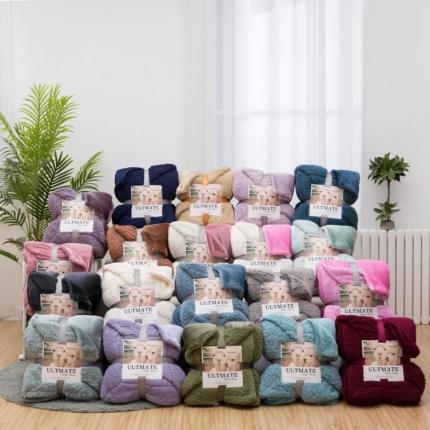 (总)欧邦 ins纯色羊羔绒毛毯双层外贸跨境法莱绒毯子潮牌款