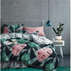 铂尔曼家纺 2018新款60长绒棉数码印花四件套 色彩地带叶