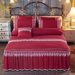 艾晶美家纺 加厚斜纹磨毛蕾丝床裙四件套海棠红