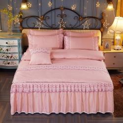 艾晶美家纺 加厚斜纹磨毛蕾丝床裙四件套苹果金