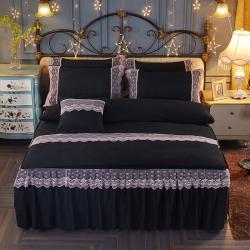 艾晶美家纺 加厚斜纹磨毛蕾丝床裙四件套炫酷黑