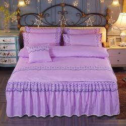 艾晶美家纺 加厚斜纹磨毛蕾丝床裙四件套优雅紫