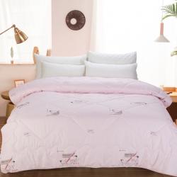 馨雨陽光100%澳洲羊毛被加厚防羽布不鉆毛無異味冬被被芯粉色