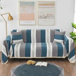 共鳴沙發墊 2019新款新款雪尼爾沙發巾沙發墊 條紋藍灰