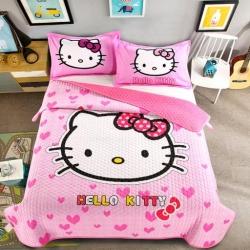 (总)羽爱家纺 棉加绒大版卡通床盖三件套