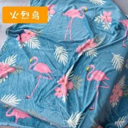 多多爱毯业 2018新款200克法莱绒毛毯 火烈鸟