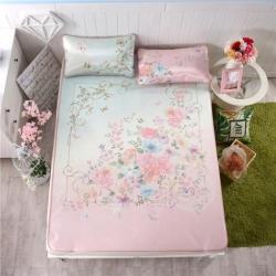 宜丝柔家纺 150D冰丝印花款(大版)凉席花卉系列爱丽丝花园