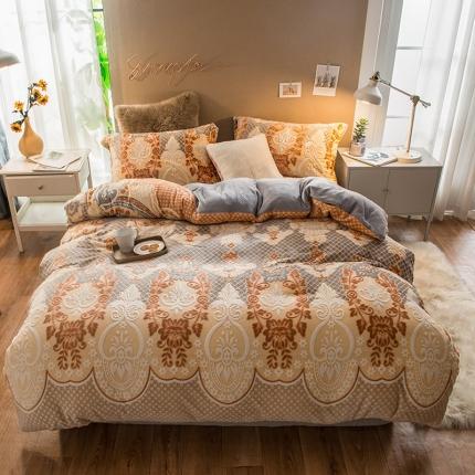 懒猫家纺2020 7斤重法莱绒水晶绒雕花绒四件套巴塞罗那咖啡