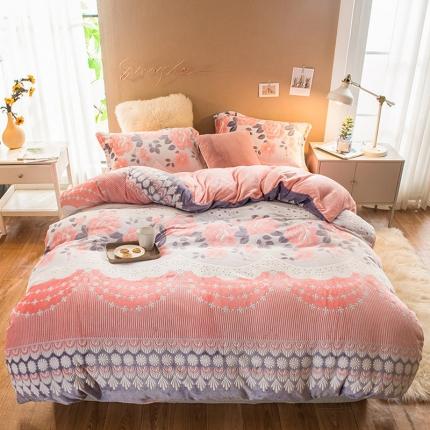 懒猫家纺2020 7斤重法莱绒水晶绒雕花绒四件套芳菲丽影-红